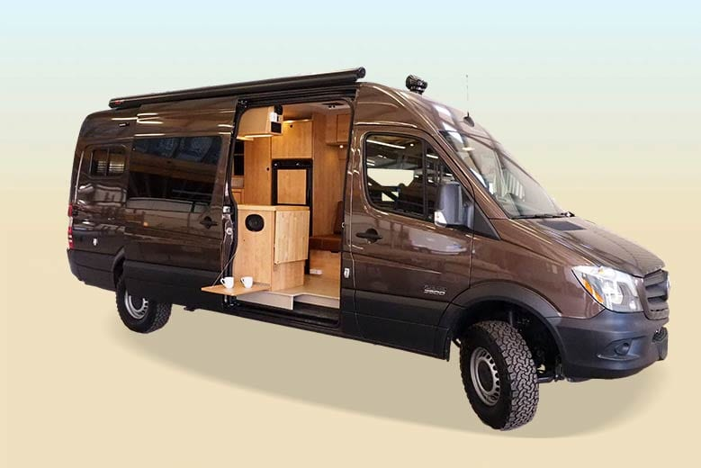 A brown Mercedes Sprinter Sportsmobile van conversion with the sliding door ajar.