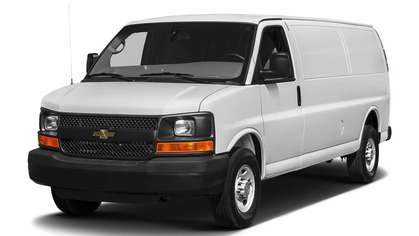 White Chevrolet Express cargo van with factory window.