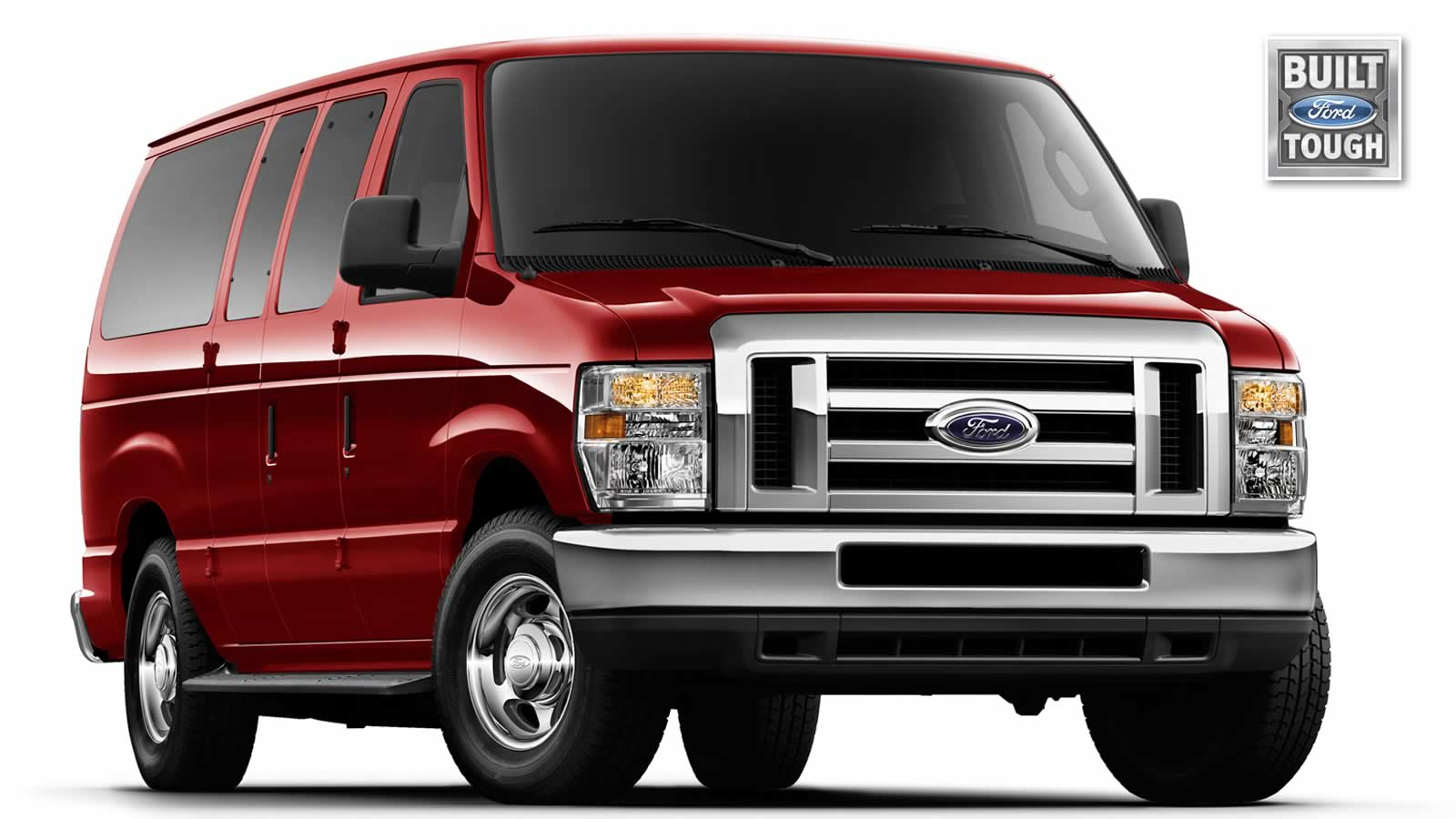 Red ford econoline van with the built ford tough logo