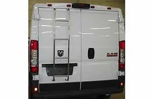 A custom white Sportsmobile conversion van with upgraded exterior ladder.