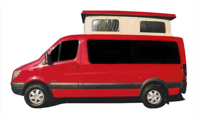 A red custom Sportsmobile Sprinter camper conversion featuring penthouse pop top that has been expanded.