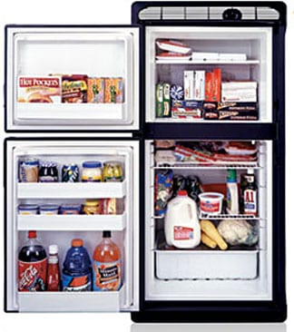 A black two door 7E refrigerator with the doors open to see the about of space inside of it.