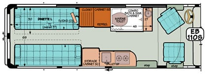 Sportsmobile conversion van diagram illustrating a combo bath with sink.
