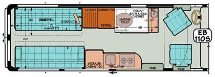 Sportsmobile conversion van diagram illustrating a combo bath with sink.