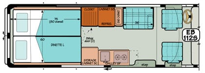 Sportsmobile conversion van diagram illustrating two beds turning into one large bed.