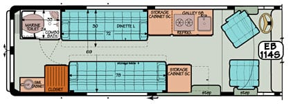 Sportsmobile conversion van diagram illustrating an added bath sink in the shower.