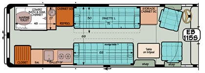 Sportsmobile conversion van diagram illustrating the various table options for mounting.