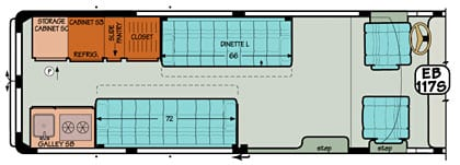 Sportsmobile conversion van diagram illustrating removable dinette and Gaucho back cushions.