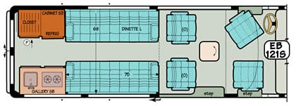 Sportsmobile conversion van diagram illustrating optional captain seats.