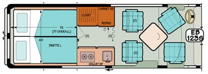 Sportsmobile conversion van diagram illustrating bi-fold doors and doors for added privacy.