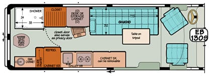 Sportsmobile conversion van diagram illustrating a marine toilet located in the rear with a large holding tank.