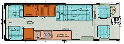 Sportsmobile conversion van diagram illustrating a short rear dinette converting into a single bed.
