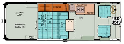 Sportsmobile conversion van diagram featuring a popular plan with an added garage.