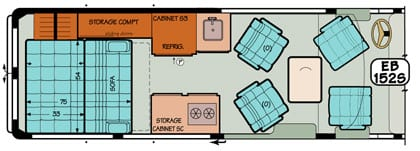 Sportsmobile conversion van diagram illustrating the options for table placement.