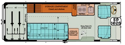 Sportsmobile conversion van diagram illustrating removable storage cabinets.