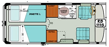 Sportsmobile conversion van diagram illustrating how the dinette turns into twin beds.