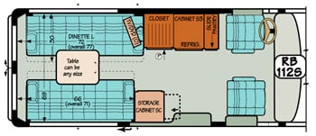 Sportsmobile conversion van diagram illustrating bed and dinette options.