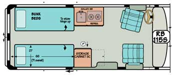 Sportsmobile conversion van diagram illustrating bunk beds and storage options.
