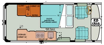 Sportsmobile conversion van diagram illustrating cabinet high countertops for more space.