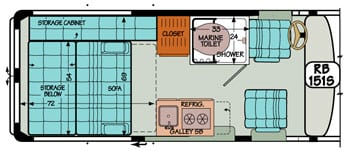 Sportsmobile conversion van diagram illustrating storage compartment conversion into large bed.