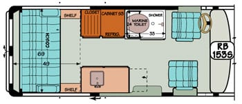 Sportsmobile conversion van diagram illustrating couch into wide bed conversion.