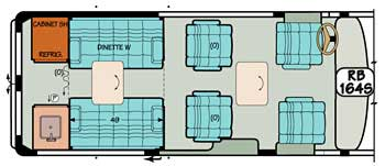 Sportsmobile conversion van diagram illustrating a popular floor plan.