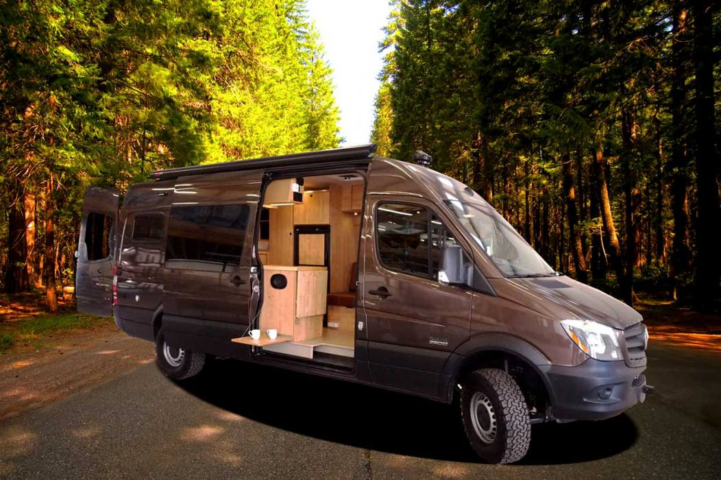 60 sprinter camper conversion van platform bed seats 5 sleeps 4. Black Bedroom Furniture Sets. Home Design Ideas