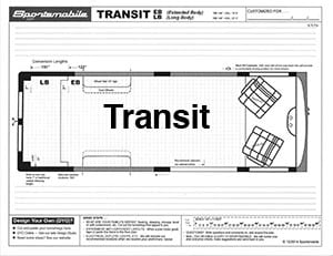 View of a Ford Transit diagram for your Sportsmobile conversion.