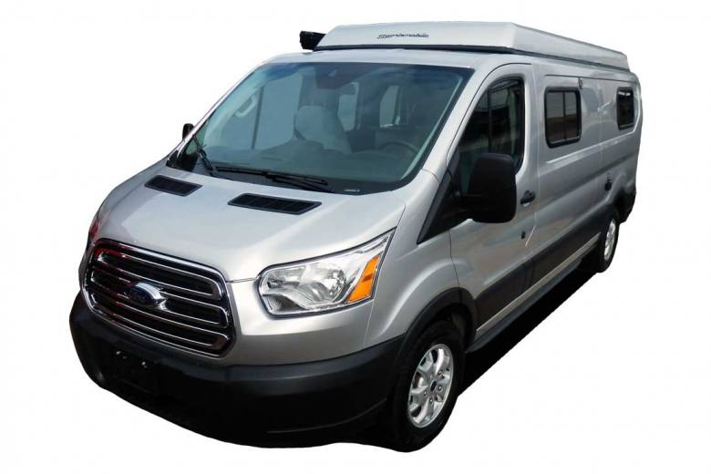 Front view of a Ford Transit van conversion.