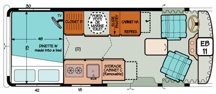 Diagram illustrating storage compartments for traveling in a Chevy or Ford Sportsmobile conversion.