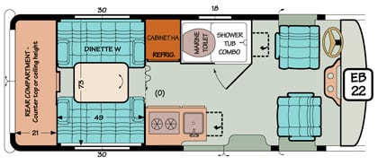 Diagram illustrating an additional bed in a Chevy or Ford Sportsmobile conversion.