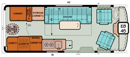 Diagram illustrating single bed options in a Chevy or Ford Sportsmobile conversion.