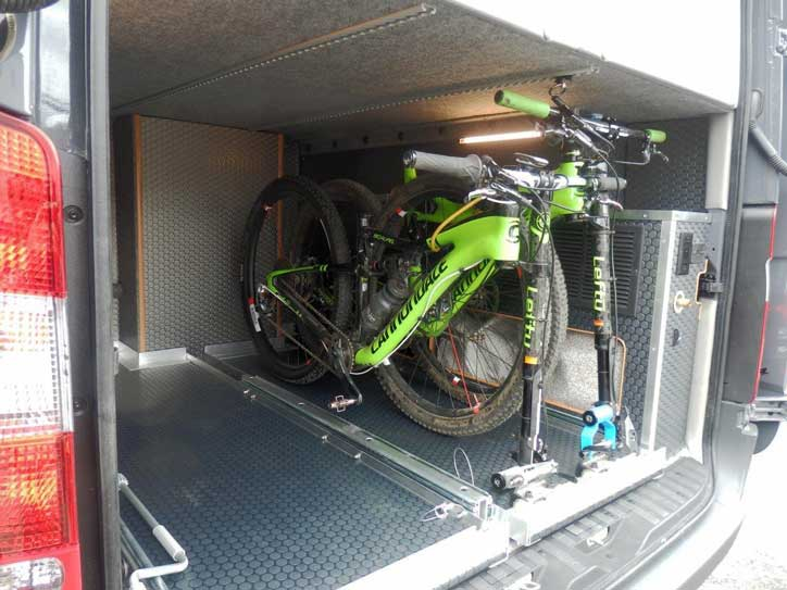 Exteior view of upgraded bike rack in a custom Sportsmobile van conversion.