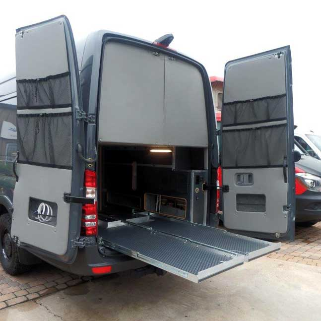 Exteior view of an upgraded enclosed platform in a custom Sportsmobile van conversion.