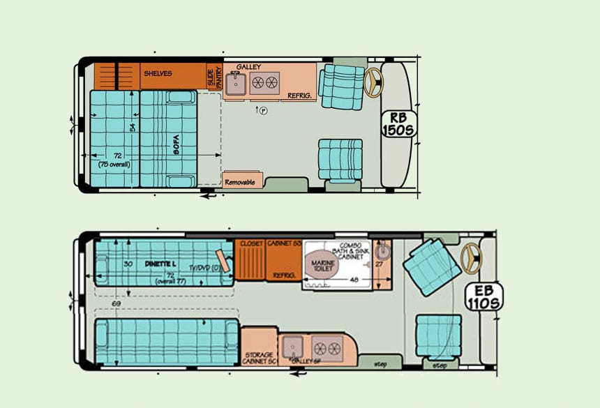 Ready to get started? View of a diagram of a Standard Plan for a Sportsmobile camper conversion van.