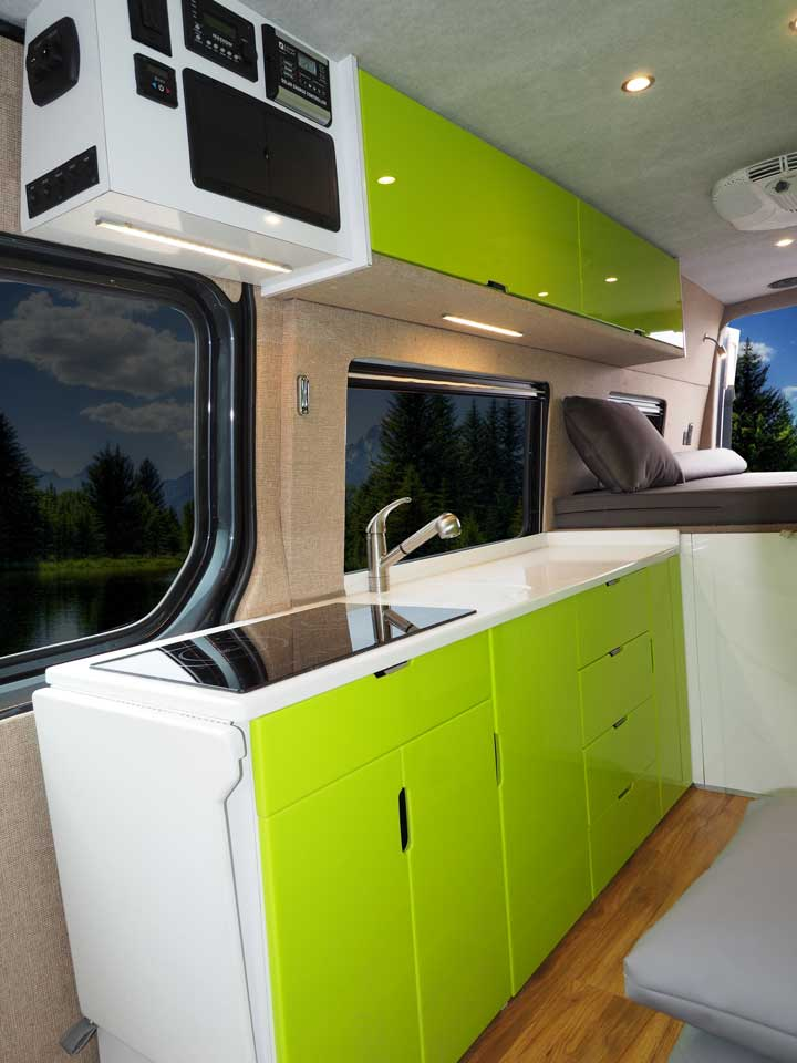 The Modern Kitchen With A Bright Green And White Color Scheme Inside Custom Sportsmobile Van