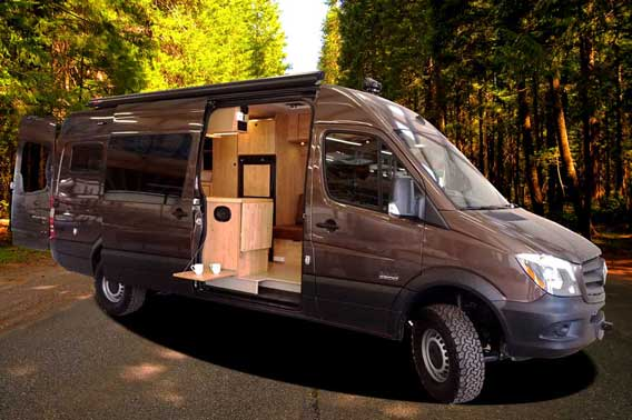 Custom brown extended body Sprinter van conversion.