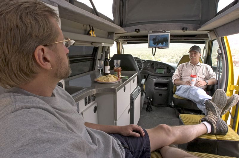Spacious room inside a Sportsmobile conversion vehicle.