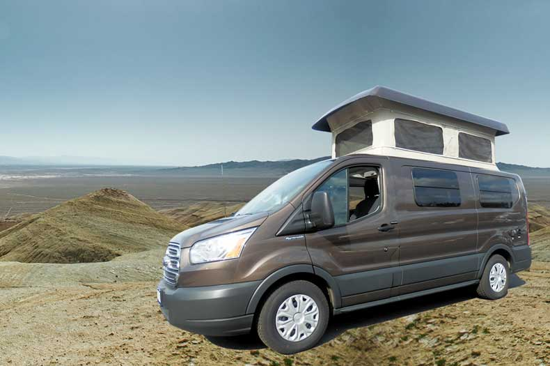 Brown Sportsmobile Transit camper conversion van with the Penthouse top up.