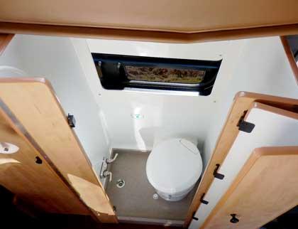 Sportsmobile customer camper van bath and toilet area.
