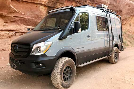 Custom 4x4 Sprinter off-roading.