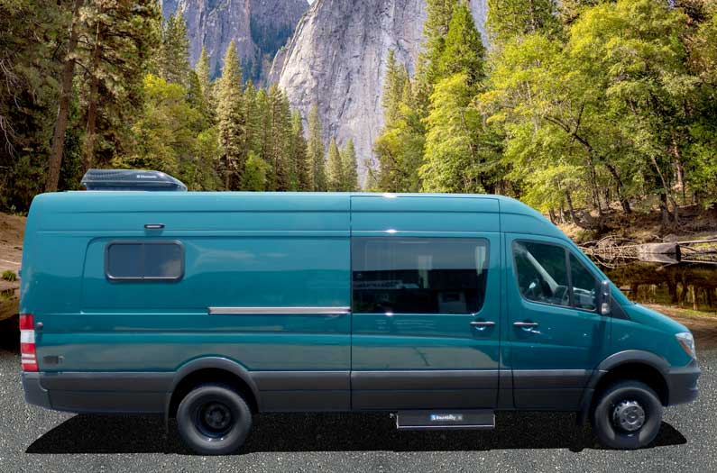 Blue green custom Sportsmobile Sprinter outfitted for individuals with disabilities.