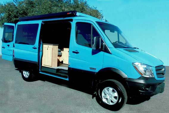 Custom blue Mercedes Sprinter conversion van.