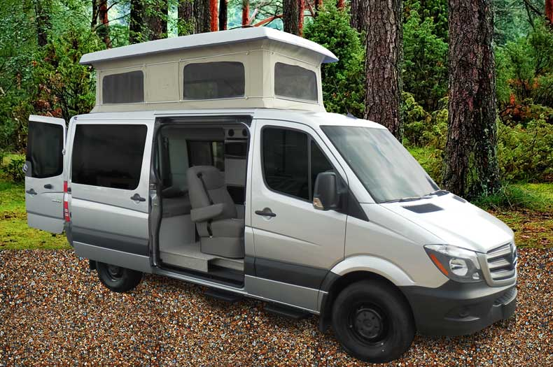 Custom Mercedes-Benz Sprinter conversion van with penthouse pop top.