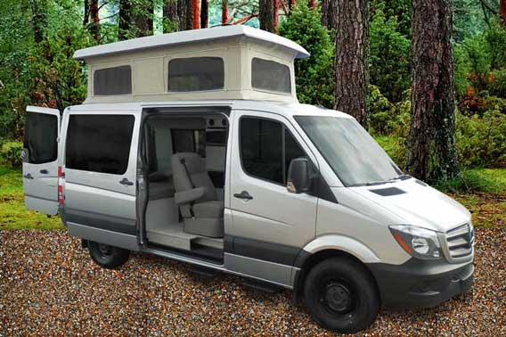 Mercedes Sprinter Van Conversion with penthouse pop top.