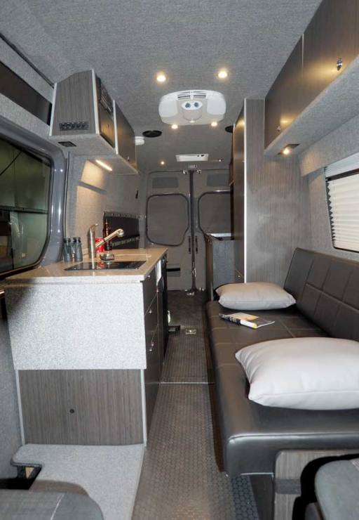 Interior view of upgraded bath in a custom Sportsmobile van conversion.