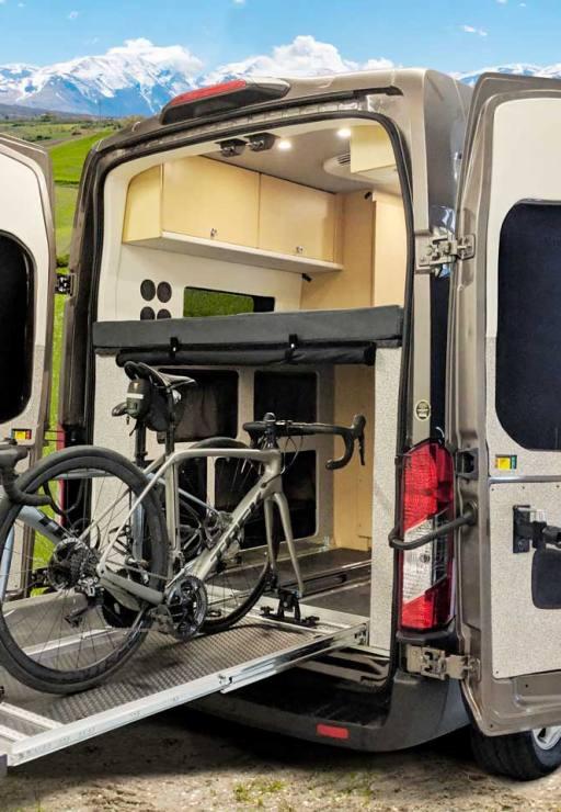 Plenty of rear storage for a bike and cargo.