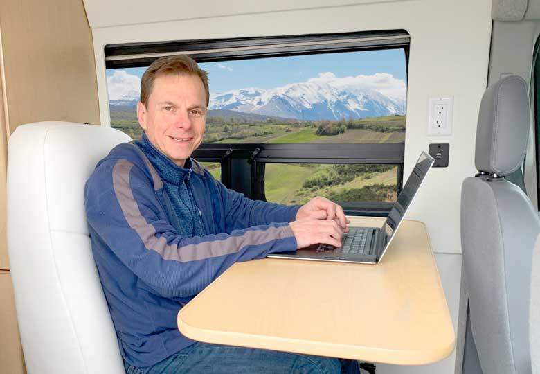 Transit conversion makes for a perfect office space.