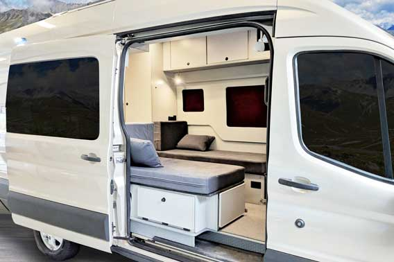 Extended body Ford Transit camper van conversion.