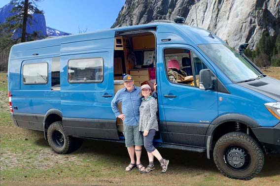 Blue Sprinter Long Body van conversion.